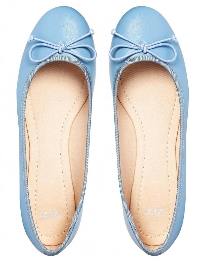 Голубые балетки Asos