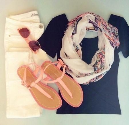 сеты одежды с шарфом летом