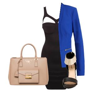 черное платье бежевая сумка и синий жакет