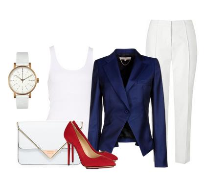 темно синий пиджак белые брюки и красные туфли