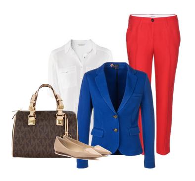 как носить синий пиджак - с красными брюками белой рубашкой и балетками