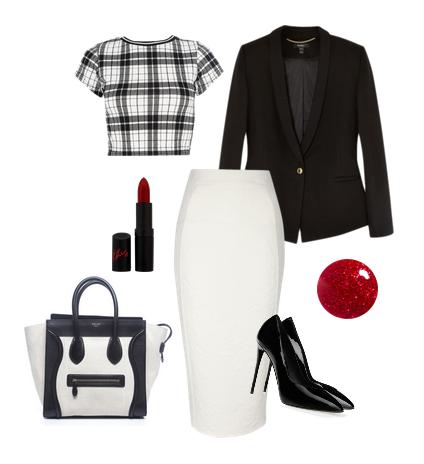 Классические сеты в одежде с укороченным топом в черно белой гамме