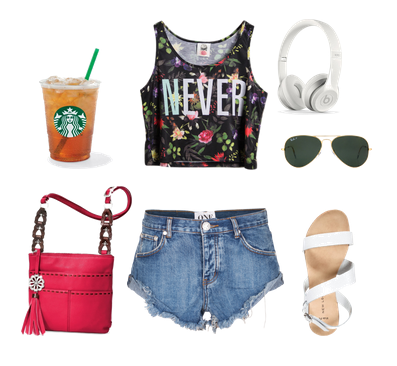 Сеты одежды на лето и пляж с crop top с джинсовыми шортами и яркой розовой сумкой через плечо
