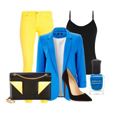 фото желтые джинсы и ярко синий пиджак