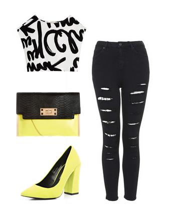 Короткий топ с джинсами в черно белой гамме и неоново желтыми туфлями и клатчем