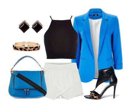 сеты одежды с синим пиджаком - белая мини юбка черно леопардовые босоножки