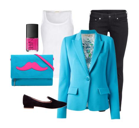 сеты одежды с голубым пиджаком