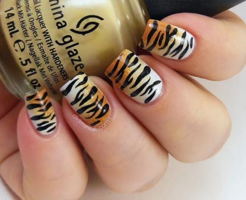 тигровые ногти, маникюр