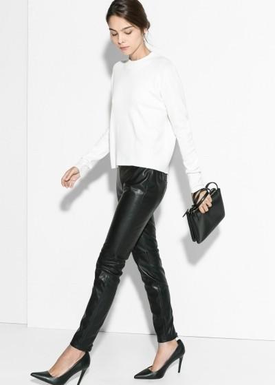 джемпер и кожаные брюки