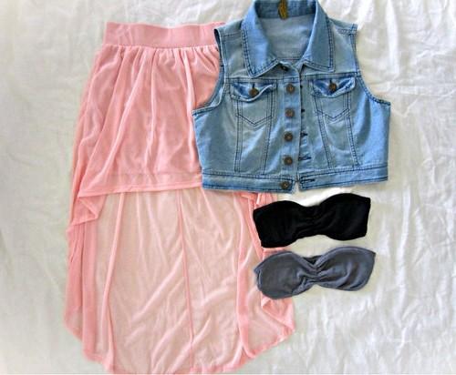образы с розовой юбкой, асиметричная