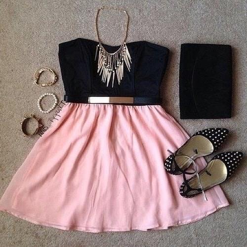 черный топ светло розовая юбка - образ модный