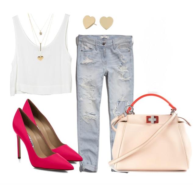 белая майка джинсы бойфренды и цветные туфли