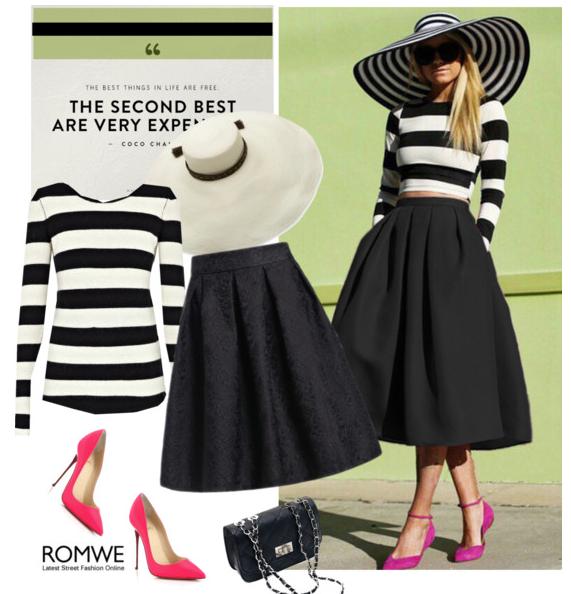 черно белый топ и черная юбка