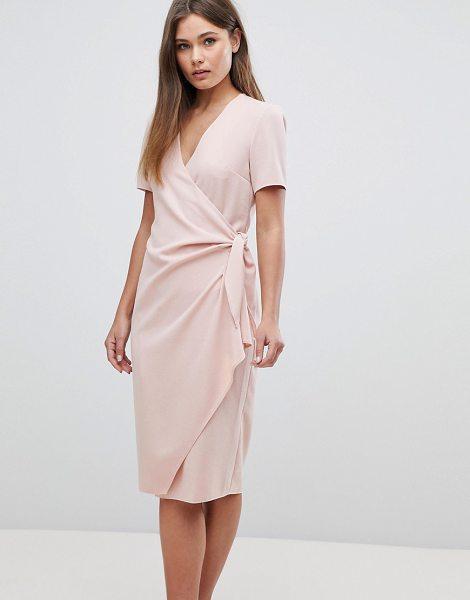 asos clean wrap midi dress with pocket detail